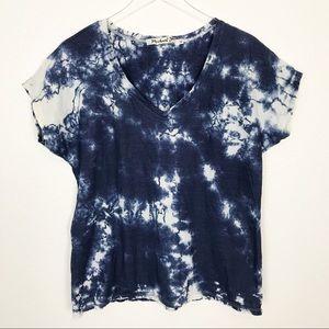 MICHAEL STARS short sleeve tie dye v-neck tee   OS